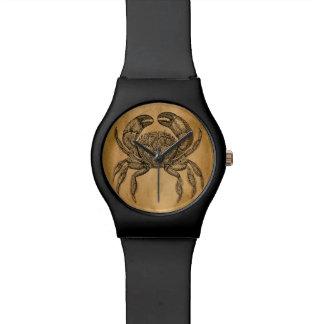 Vintage Ocean Crab Parchment Personalized Template Wristwatch