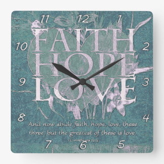 Vintage Ocean Faith, Hope and Love Square Wall Clock