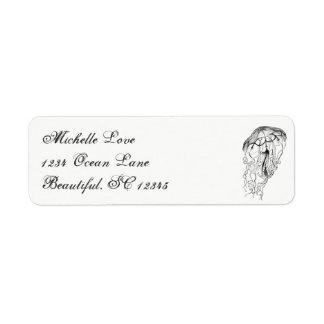 Vintage Ocean Jellyfish Beach Black White Address Label