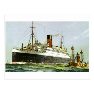 Vintage Ocean Liner and Tugboat Postcard