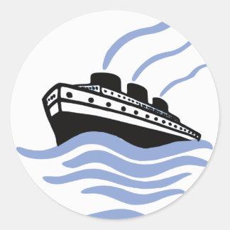 Vintage Ocean Liner Art Classic Round Sticker