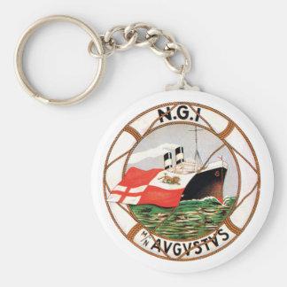 Vintage Ocean Liner Label Keychain