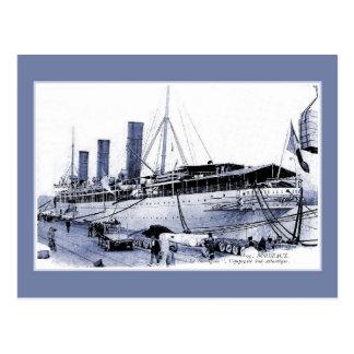 Vintage Ocean Liner SS Burdigala at Bordeaux Postcard