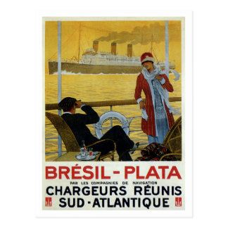 Vintage ocean liner to Brazil Plata ad poster Post Cards