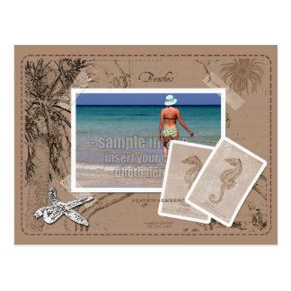 Vintage Ocean Map Collage Tan Photo Frame Postcard