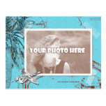 Vintage Ocean Map Collage Turquoise Photo Frame Postcard
