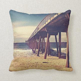 Vintage Ocean Pier Throw Pillow