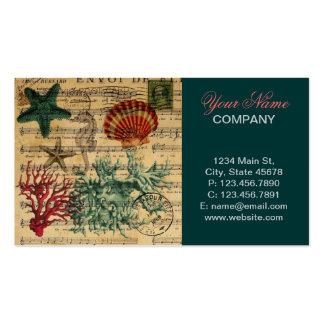 vintage ocean seashells coral beach fashion business card template