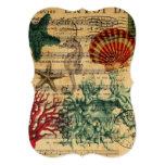 vintage ocean seashells coral beach fashion 5x7 paper invitation card