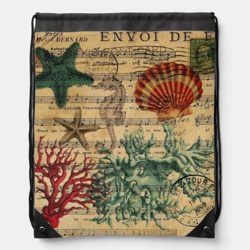 vintage ocean seashells coral beach fashion backpack