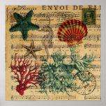 vintage ocean seashells coral beach fashion posters