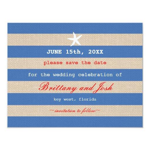 Vintage Ocean Stripes Save the Date Invitation