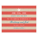 Vintage Ocean Stripes Save the Date Invitation