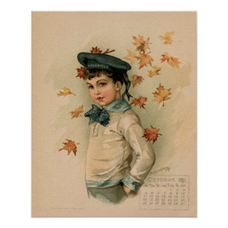 Vintage October 1891 beautiful children drawing Poster