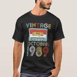 Vintage October 1989 Cassette Tape T-shirt