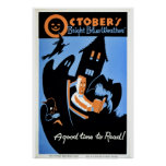 """Vintage October's """"bright blue weather"""" WPA Poster"""