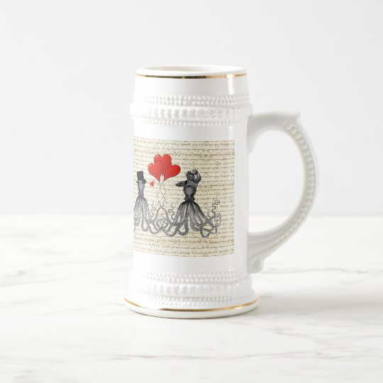 Vintage octopi and hearts beer stein