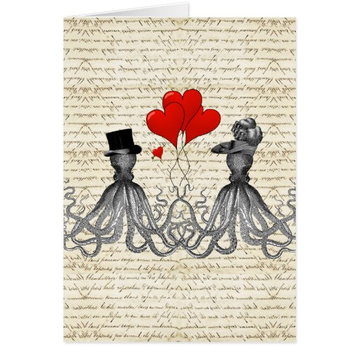 Vintage octopi and hearts greeting card