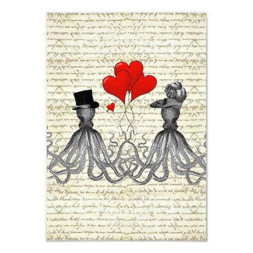 Vintage octopi and hearts invite