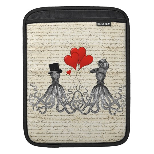 Vintage octopi and hearts iPad sleeves