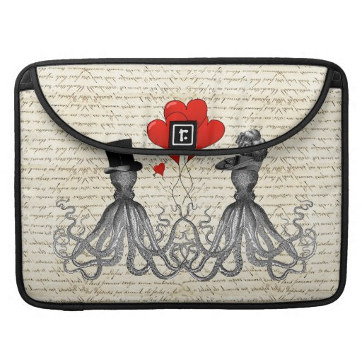 Vintage octopi and hearts MacBook pro sleeves