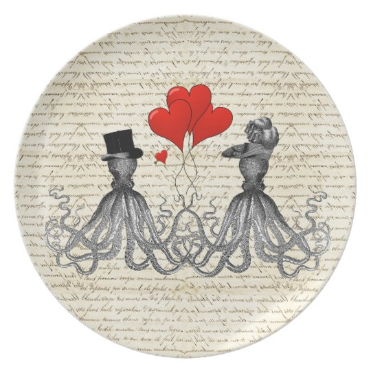 Vintage octopi and hearts melamine plate