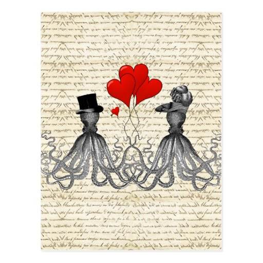 Vintage octopi and hearts postcard