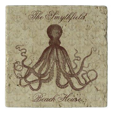 Beach Themed Vintage Octopus Anchors Brown Custom Beach House Trivet