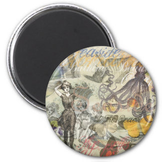 Vintage Octopus and Bathing Beauties 2 Inch Round Magnet