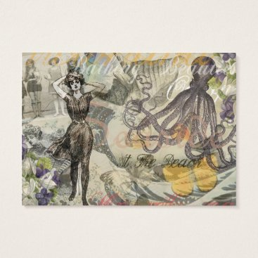 Beach Themed Vintage Octopus and Bathing Beauties Business Card