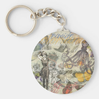Vintage Octopus and Bathing Beauties Keychain
