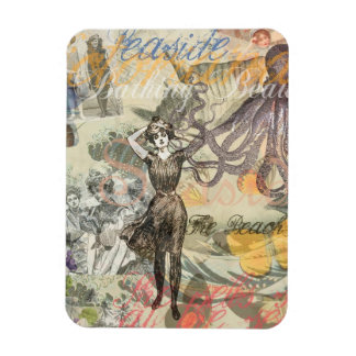 Vintage Octopus and Bathing Beauties Rectangular Photo Magnet