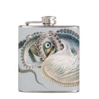 Vintage Octopus Argonaut, Marine Life Animals Hip Flask