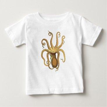 Ocean Themed Vintage Octopus Baby T-Shirt