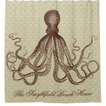 Beach Themed Vintage Octopus Beach House Nautical Anchors Brown Shower Curtain