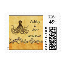 Vintage octopus, beach  wedding stamps