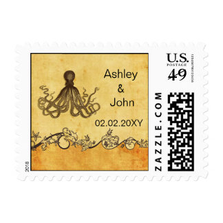 Vintage octopus, beach  wedding stamps