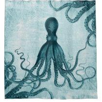 Vintage Octopus Blue Shower Curtain