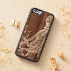 Vintage Octopus Botanical Wood Carved® Maple iPhone 6 Bumper Case at Zazzle