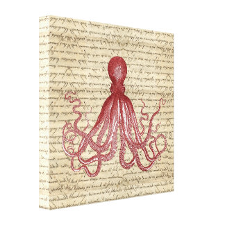 Vintage octopus canvas print
