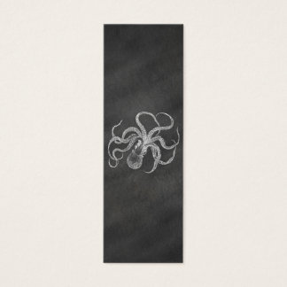 Vintage Octopus Chalkboard Background Template Mini Business Card