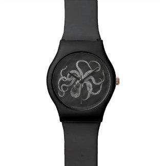 Vintage Octopus Chalkboard Background Template Wrist Watch