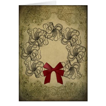 Christmas Themed Vintage Octopus Christmas Card