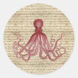 Vintage octopus classic round sticker