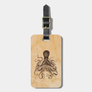 Vintage Octopus Illustration in Browns Bag Tag