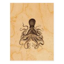 Vintage Octopus Illustration in Browns Postcard