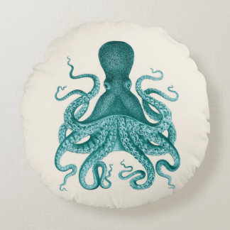 Vintage Octopus Illustration in Turquoise Round Pillow
