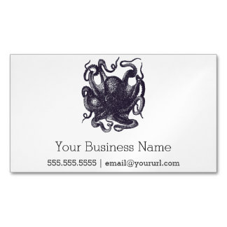 Vintage Octopus Illustration Magnetic Business Card