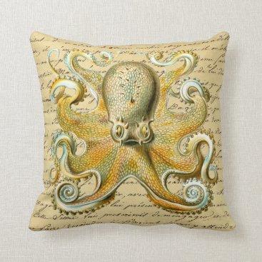 Beach Themed Vintage Octopus Illustration - Octopoda Vulgaris Throw Pillow