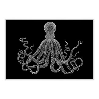 Vintage Octopus In Black And White Poster